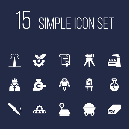 Set of 15 industry icons set. Collection of cyborg, led, wood and other elements.