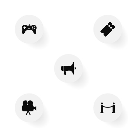 Set of entertainment icons set. Collection of ticket, movie cam, game controller and other elements.