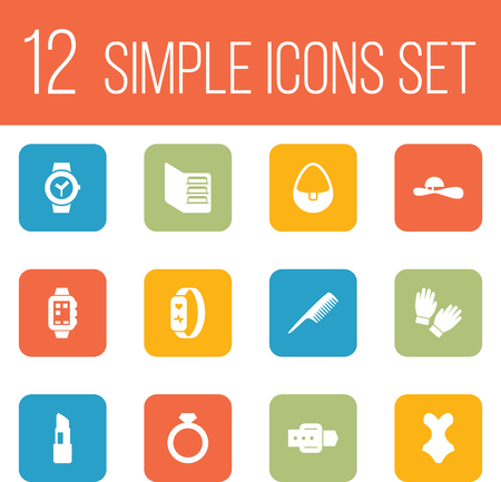 Set of decorating icons set. Collection of clock, wrist watch, lipstick and other elements.