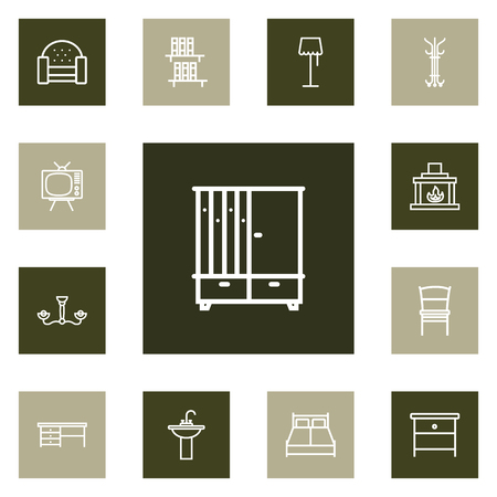 Set of 13 decor icons line style set. Collection of hanger, floor lamp, double bed and other elements.