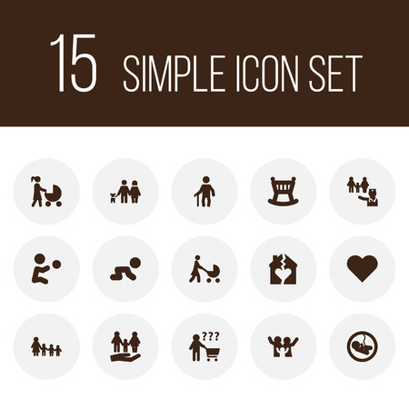 Set of 15 relatives icons set. Collection of pregnancy, boy, doctor and other elements.