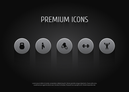 Set of 5 bodybuilding icons set. Collection of kettle bells, knee raise, fitness and other elements.