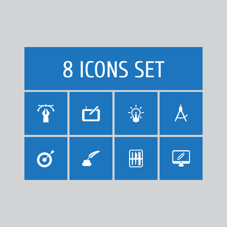 Set of 8 creative icons set. Collection of gadget, writing, case and other elements.