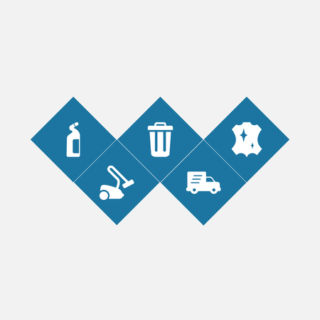 Set of 5 cleanup icons set  in white silhouette illustration.