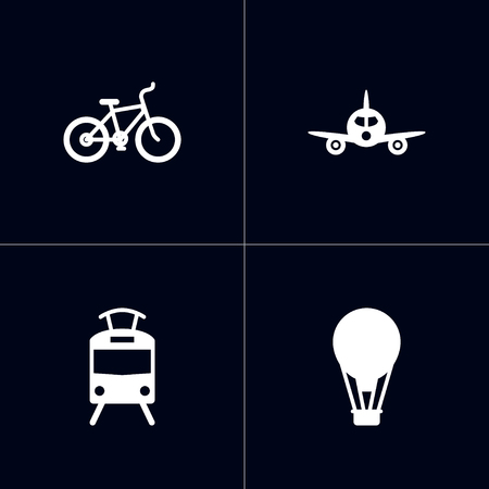 Set of 4 shipping icons set. Collection of streetcar, bicycle, aircraft and other elements.