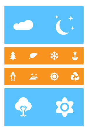 Set of 12 natural icons set. Collection of snowflake, cloud, fir tree and other elements. Ilustração