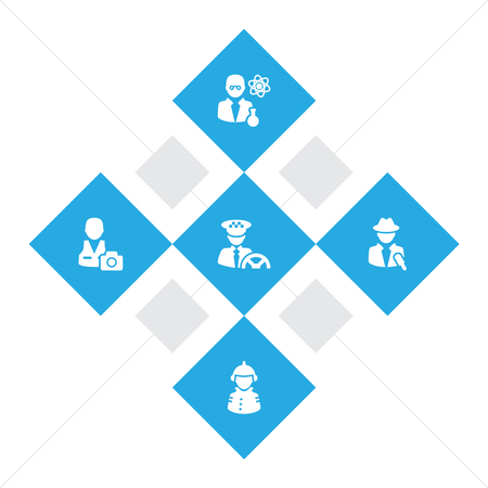 Set of 5 professions icons set. Collection of reporter, photographer, scientist and other elements. Vettoriali