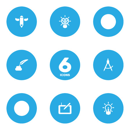 Set of 6 constructive icons set isolated on plain background.