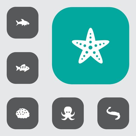 Set of 6 food icons set. Collection of starfish, eel, octopus and other elements.