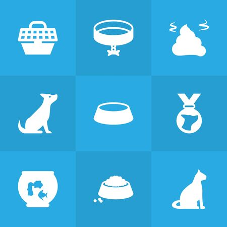 Set of 9 pets icons set. Collection of medallion, fishbowl, pet crate and other elements.