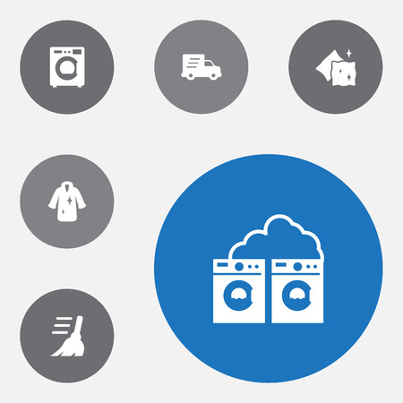 Set of 6 cleanup icons set. Collection of dry, shipping, broom and other elements. Stock Photo