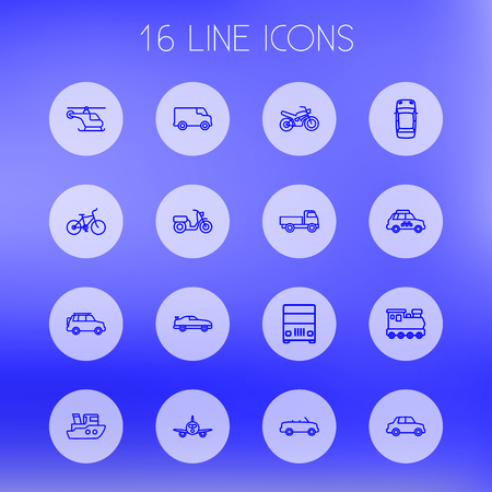 Set of 16 transport icons line style set. Collection of coupe, train, ship and other elements.