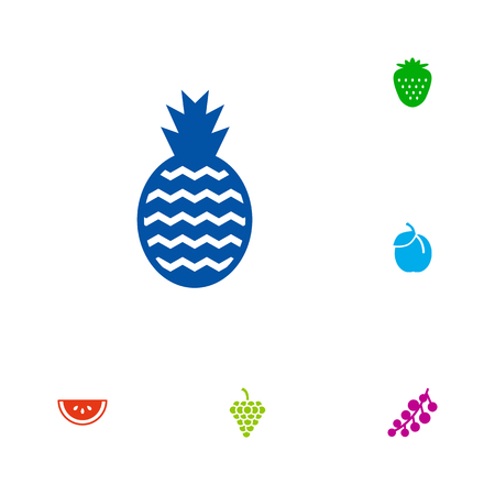 Set of 6 food icons set. Collection of pineapple, grape, plum and other elements.