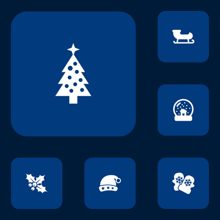 Set of 6 new icons set. Collection of snow globe, holly, christmas tree and other elements.