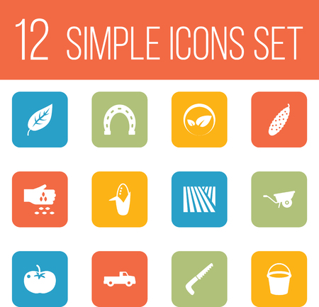 Set of 12 harvest icons set. Collection of handsaw, dumper truck, tomato elements.