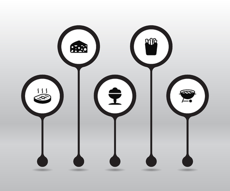 Set of 5 dish icons set. Collection of beefsteak, potato, cheddar and other elements.