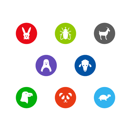 Set of 8 animal icons set. Collection of lamb, aquila, livestock and other elements. Illustration
