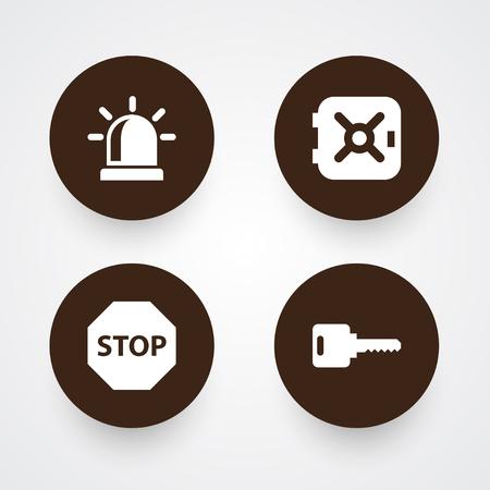 Ensemble de 4 icônes de sécurité définies. Collection de coffre-fort, signe, alarme et autres éléments.