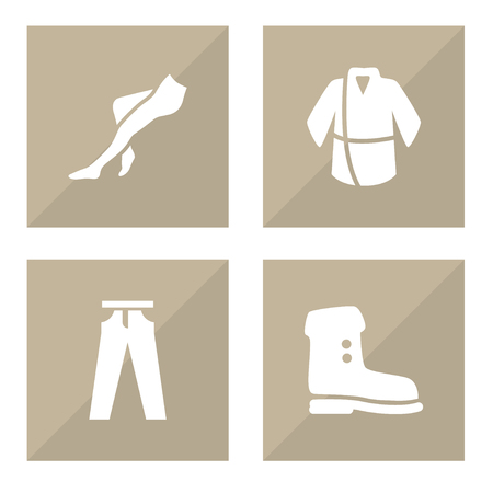 Set of garment icons set. Collection of jeans, tight, bathrobe and other elements. Ilustração