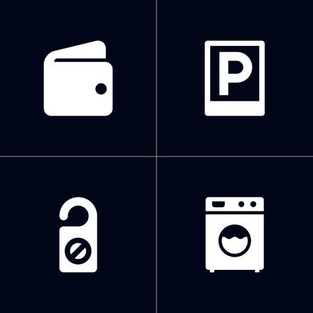 ホテルアイコンセットのセット。財布、コインランドリー、駐車場やその他の要素のコレクション。