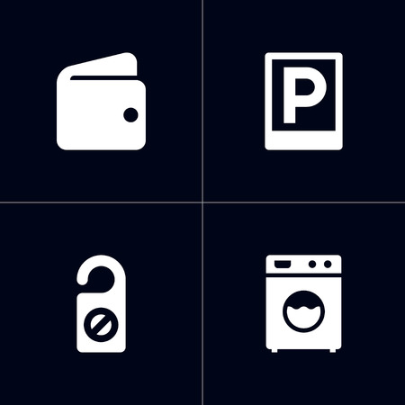 Set of hotel icons set. Collection of wallet, laundromat, parking and other elements.