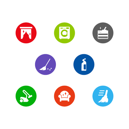 Set of 8 cleaning icons set. Collection ofvacuum, curtain, broom and other elements.