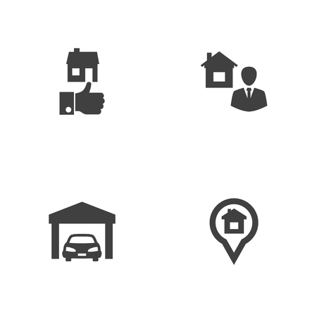 Set of 4 real icons set. Collection of garage, location, realtor and other elements.