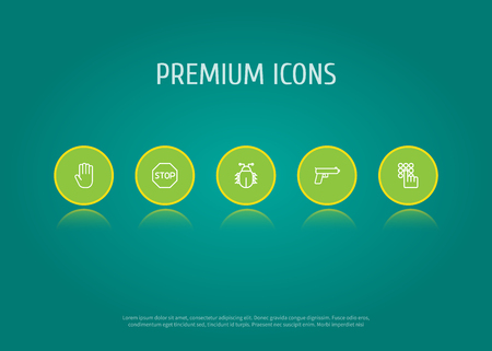 Set of 5 safety icons line style set. Collection of palm, gun, bug and other elements. Stock Vector - 99126017