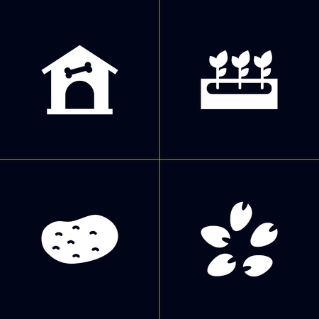 Set of 4 household icons set. Collection of potato, doghouse, flowers and other elements. Illustration