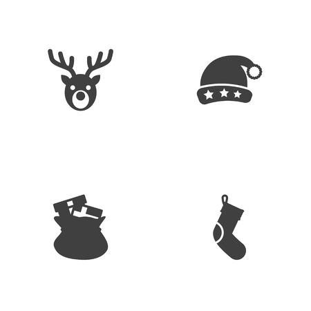 Set of 4 christmas icons set. Collection of elk, fireplace decoration, santa's hat and other elements.