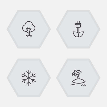 Set of 4 bio icons line style set. Collection of winter snow, tree, green power and other elements. 矢量图像