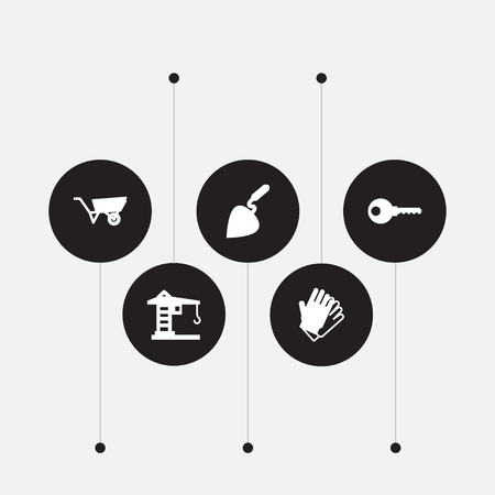 Set of 5 construction icons set. Collection of key, gloves, wheelbarrow and other elements.