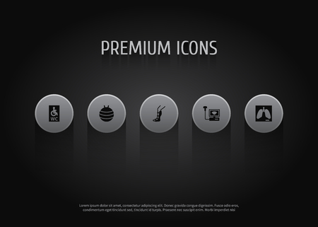 Set of 5 medical icons set. Collection of lung, splint, pilates and other elements. Ilustração
