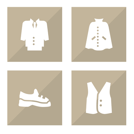 Set of 4 clothes icons set. Collection of suit, vest, trainers and other elements.