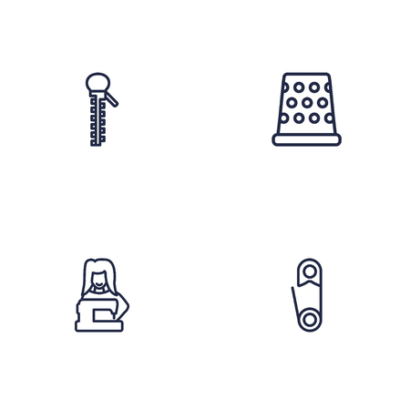 Set of 4 stitch icons line style set. Collection of fastener, pintle, clothier and other elements. Stock Photo