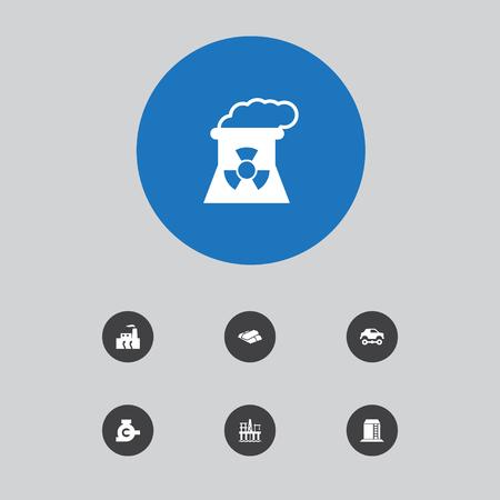 Ensemble de 7 icônes industrielles définies. Collection de plate-forme pétrolière, pipeline, industrie et autres éléments. Illustration vectorielle.