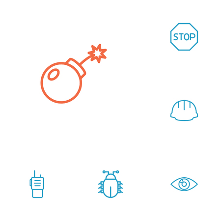 Set of 6 security icons line style set. Collection of bug, stop, hardhat and other elements.
