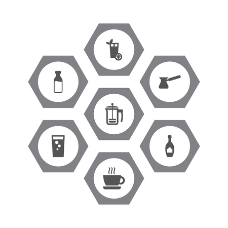 Set of 7 beverages icons set. Collection of french press, hot drink, mojito and other elements.