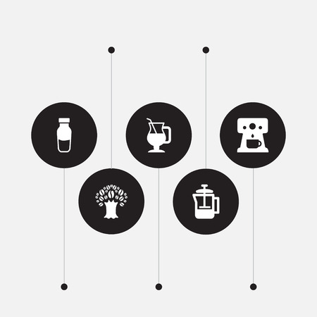 Set of 5 beverage icons set. Collection of percolator, mocha, tree and other elements. Vettoriali