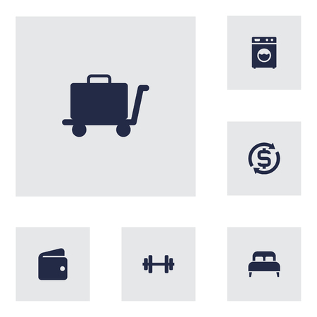 Set of 6 motel icons set. Collection of exchange, double bed, wallet and other elements.