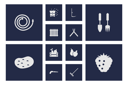Set of 12 farm icons set. Collection of hedge, potato, beekeeping and other elements.