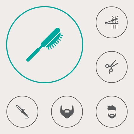 Set of 6 shop icons set. Collection of beard, curling iron, hairbrush and other elements.