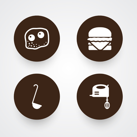 Set of 4 kitchen icons set. Collection of omelette, hamburger, mixer and other elements. Imagens