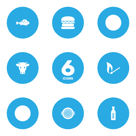 Set of 6 bbq icons set. Collection of fish, bottle, brazier and other elements.