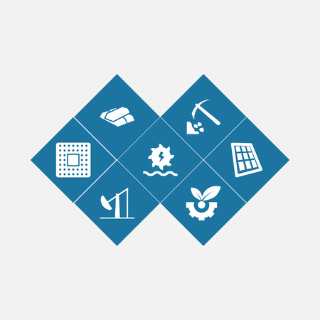 Set of 7 industry icons set. Collection of solar panel, microprocessor, coal and other elements. Illustration