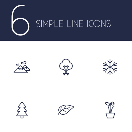 Set of 6 nature icons line style set. Collection of pinnacle, tree, spruce and other elements. Illustration