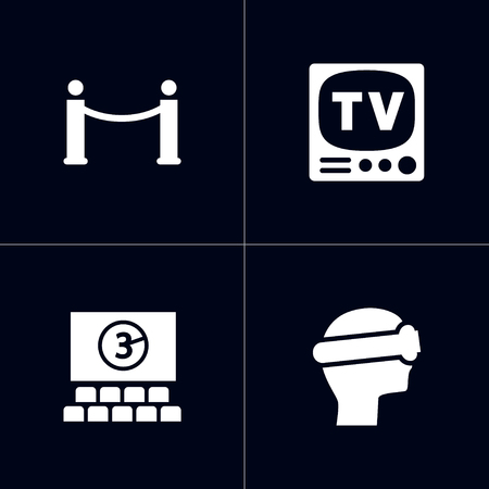 Set of 4 pleasure icons set. Collection of vr helmet, cinema, barrier rope and other elements.