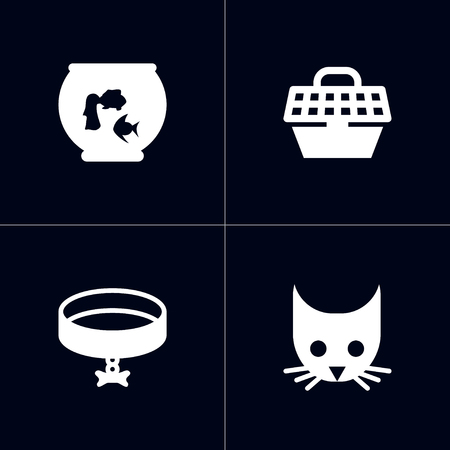 Set of 4 mammal icons set. Collection of head, aquarium, carries and other elements.