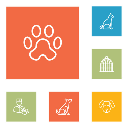 Set of 6 pets icons line style set. Collection of dog, sitting, birdcage and other elements.