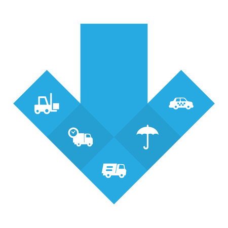 Set of 5 shipping icons set. Collection of taxi, truck, protect from moisture and other elements.